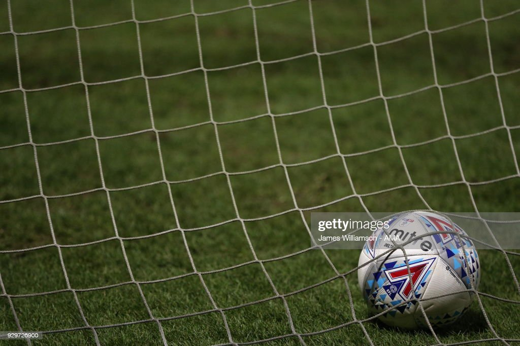A general view of the Sky Bet EFL Mitre Delta match ball during the Sky Bet Championship match between Burton Albion and Brentford the at Pirelli Stadium on March 6, 2018 in Burton-upon-Trent, England.
