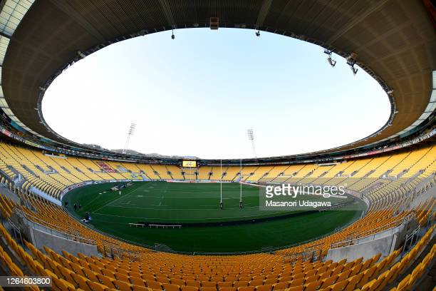 General view of the Sky Stadium during the before the round 9 Super Rugby Aotearoa match between the Hurricanes and the Chiefs at Sky Stadium on...