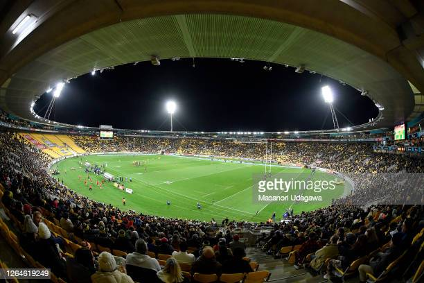 General view of the Sky Stadium during the round 9 Super Rugby Aotearoa match between the Hurricanes and the Chiefs at Sky Stadium on August 08, 2020...