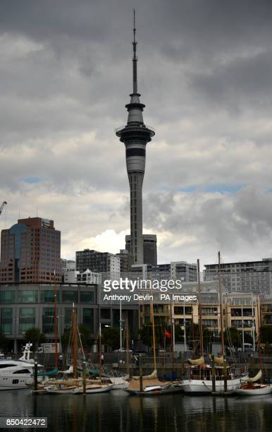 General view of the Sky Tower and Viaduct Harbour Auckland