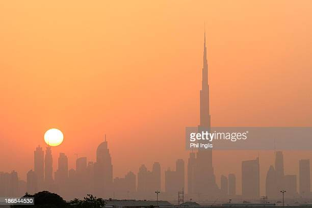 A general view of the skyline at sunset from the clubhouse terrace during the second round of the Dubai Festival City Challenge Tour Grand Final...