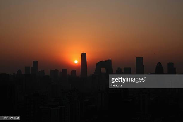 General view of the skyline of central business district during sunset on February 19, 2013 in Beijing, China. Large amounts of organic nitrogen...