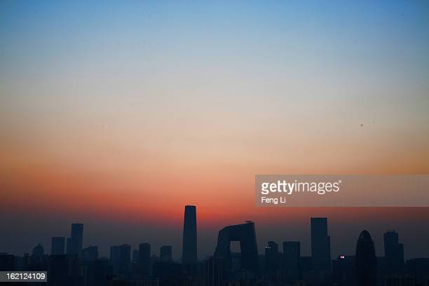 General view of the skyline of central business district on February 19, 2013 in Beijing, China. Large amounts of organic nitrogen compounds were...