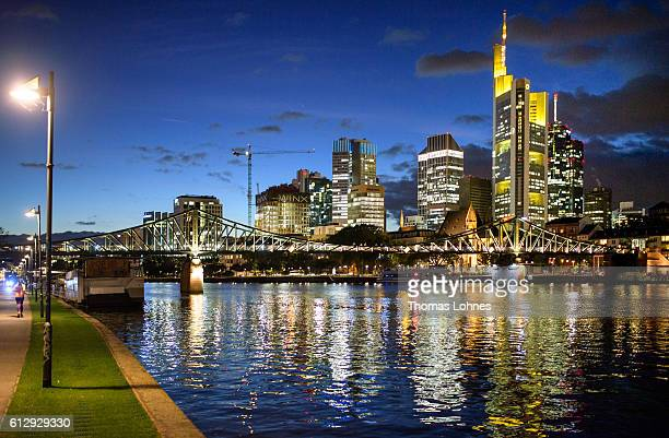 A general view of the skyline of Frankfurt and the financial district with the corporate headquarters of Commerzbank in the background on October 5...