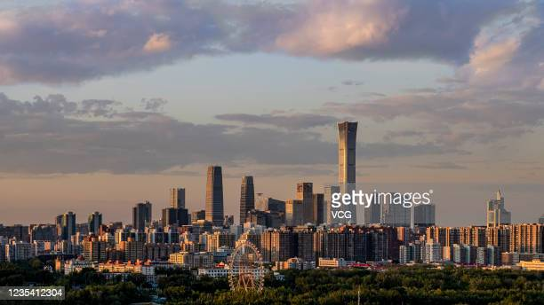 General view of the skyline of the central business district at sunset on May 27, 2020 in Beijing, China.