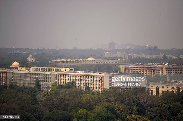 A general view of the skyline of the Indian capital New Delhi on March 11 which shows The Parliament / AFP / Chandan KHANNA