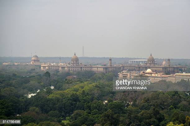 A general view of the skyline of the Indian capital New Delhi on March 11 which shows The President's House and Parliamentary buildings / AFP /...