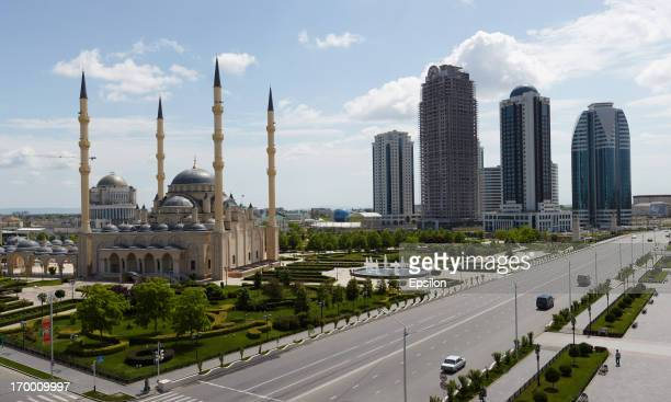 General view of the skyscraper complex GroznyCity with the Akhmad Kadyrov Mosque in front on June 2 2013 in Grozny Russia