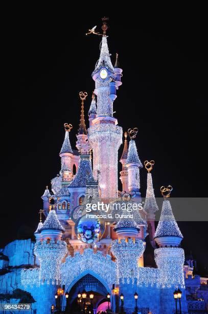 General view of the Sleeping Beauty Castle during the Disneyland Magic Christmas Season Launch at Disneyland Resort Paris on November 7, 2009 in...