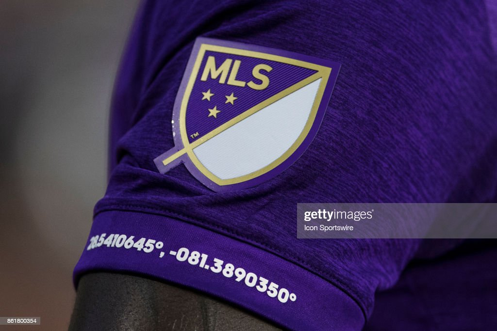 A general view of the sleeve of an Orlando City jersey showing the GPS coordinates of the stadium during the soccer match between Orlando City SC and The Columbus Crew on October 15, 2017 at Orlando City Stadium in Orlando FL.