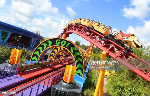 General view of the Slinky Dog Dash ride during the preview of The Toy Story Land at Disney's Hollywood Studios on June 28 2018 in Orlando Florida