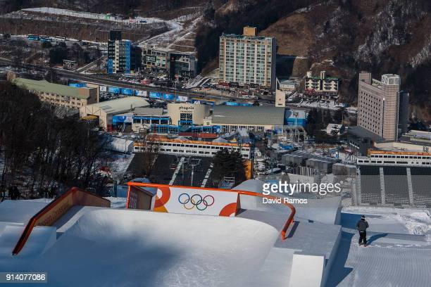 General view of the Slopestyle course during previews ahead of the PyeongChang 2018 Winter Olympic Games at the Bokwang Snow Park on February 4 2018...