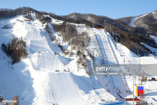 A general view of the Slopestyle venue and Moguls venue at Phoenix Park during previews ahead of the PyeongChang 2018 Winter Olympic Games at Phoenix...