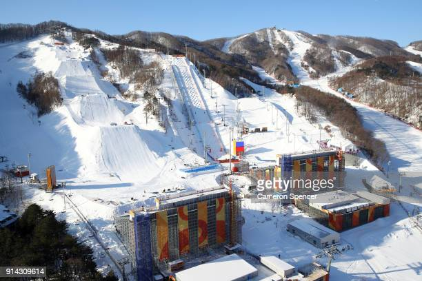 A general view of the Slopestyle venue Moguls venue and Aerials venue at Phoenix Park during previews ahead of the PyeongChang 2018 Winter Olympic...