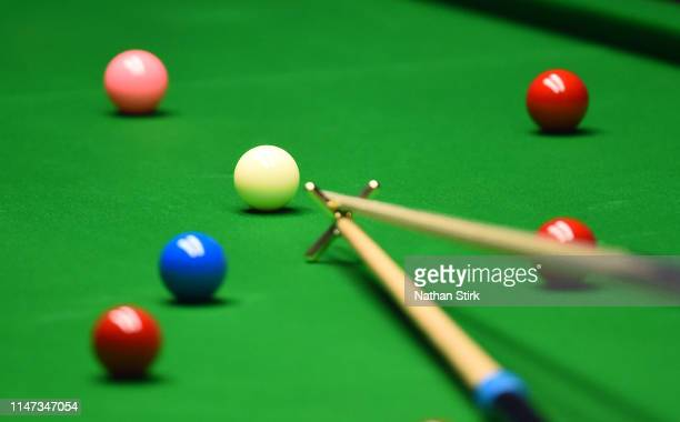 General view of the snooker balls during day 17 of the 2019 Betfred World Snooker Championship final between John Higgins and Judd Trump at Crucible...