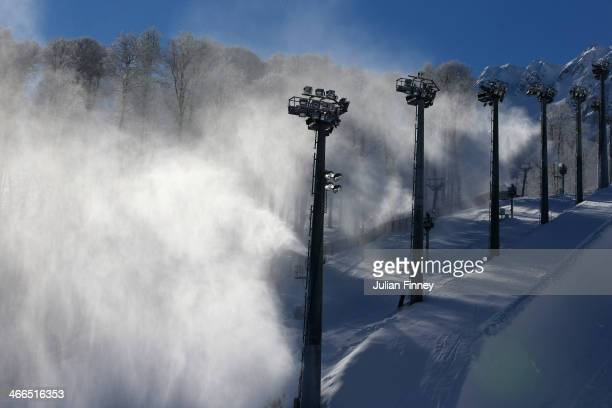 General view of the snow machines at the Halfpipe venue ahead of the Sochi 2014 Winter Olympics on February 2, 2014 in Rosa Khutor, Sochi.