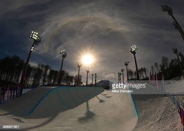 A general view of the Snowboard Women's Halfpipe Qualification Heats on day five of the Sochi 2014 Winter Olympics at Rosa Khutor Extreme Park on...