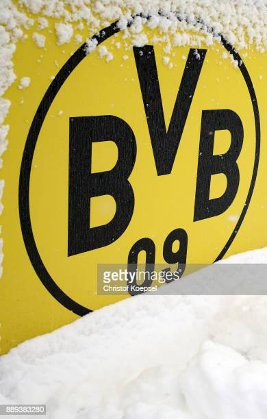 General view of the snowcovered Brackel Training Ground and Dortmund logo on December 10 2017 in Dortmund Germany