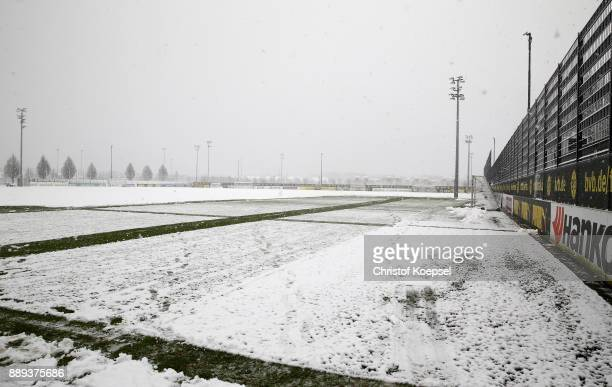 General view of the snowcovered Brackel Training Ground on December 10 2017 in Dortmund Germany