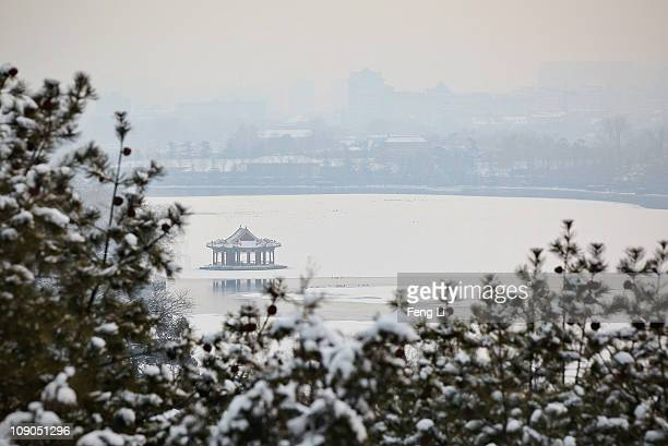 A general view of the snowcovered Zhongnanhai the government compound used by senior Chinese leaders on February 13 2011 in Beijing China Snow fell...