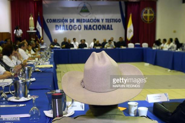 A general view of the socalled national dialogue talks among government's representatives Nicaragua's Roman Catholic bishops and the opposition in an...