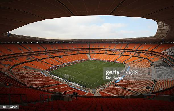 General view of the Soccer City stadium ahead of the opening match in Johannesburg on June 11, 2010 in Johannesburg, South Africa. The FIFA 2010...