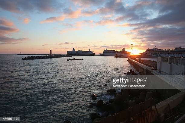 General view of the Sochi sea port on the Black Sea on February 2 2014 in Sochi Russia