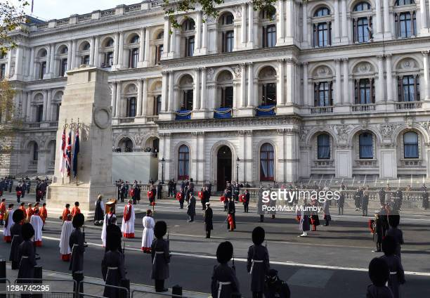 General view of the socially distanced National Service of Remembrance attended by Queen Elizabeth II, members of the Royal Family and politicians at...