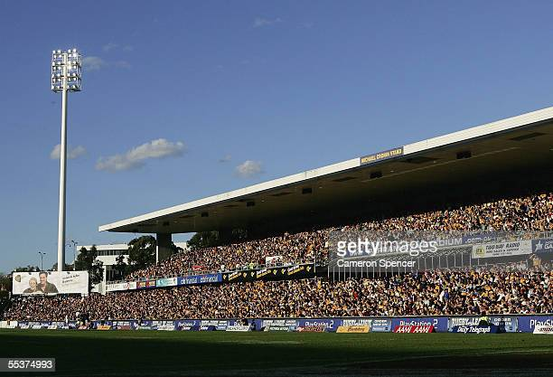 A general view of the sold out crowd during the NRL Qualifying Final between the Parramatta Eels and the Manly Warringah Sea Eagles at Parramatta...