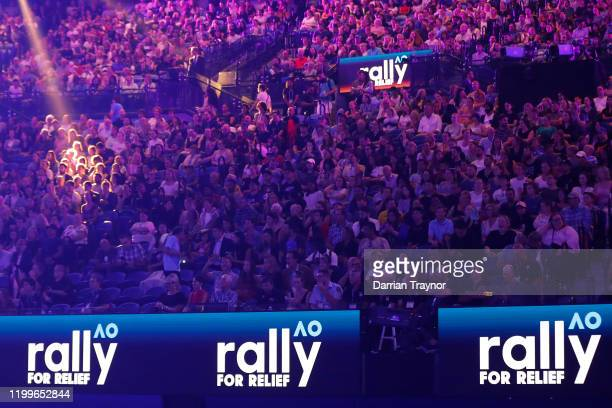 A general view of the sold out crowd during the Rally for Relief Bushfire Appeal event at Rod Laver Arena on January 15 2020 in Melbourne Australia