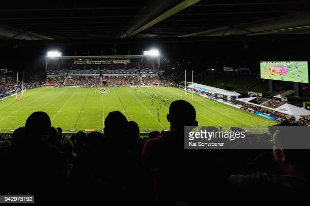 General view of the sold out Mt Smart Stadium during the round five NRL match between the New Zealand Warriors and the North Queensland Cowboys at Mt...