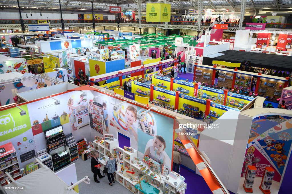 Trade Stands Olympia : A general view of the some of the display stands at the annual toy
