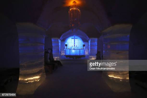 A general view of the Sorrisniva Igloo or Ice Hotel near Alta on March 30 2017 in Finnmark Norway