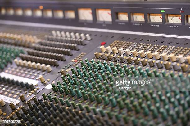 A general view of the sound equipment 'analog' audio mixer soundboard at Luther Burbank Center For The Arts on August 17 2016 in Santa Rosa California