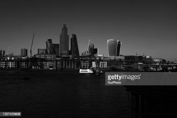 Image has been converted to black and white) General view of the south City of Londons Skyline on March 16, 2020 in London, England. Boris Johnson...
