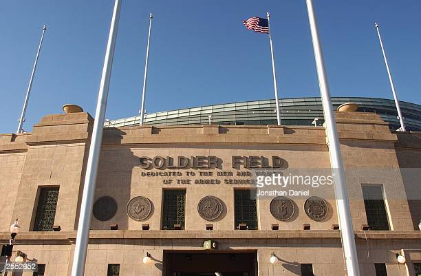 A general view of the south side of the rebuilt Soldier Field stadium home to the NFL Chicago Bears and the MLS Chicago Fire during a media tour on...