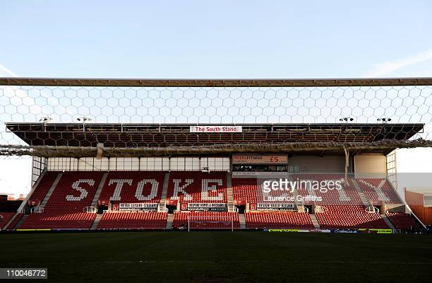 A general view of the South Stand after the FA Cup sponsored by EON 6th Round match between Stoke City and West Ham United at the Britannia Stadium...