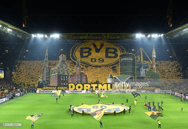 FA general view of the south stand with a Dortmund fan choreography is seen prior to the Bundesliga match between Borussia Dortmund and Eintracht...