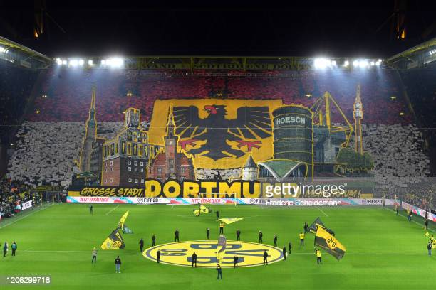 General view of the south stand with a Dortmund fan choreography is seen prior to the Bundesliga match between Borussia Dortmund and Eintracht...
