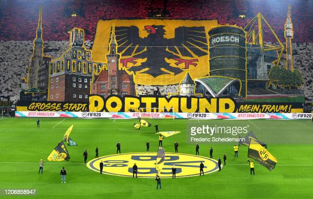 A general view of the south stand with a Dortmund fan choreography is seen prior to the Bundesliga match between Borussia Dortmund and Eintracht...