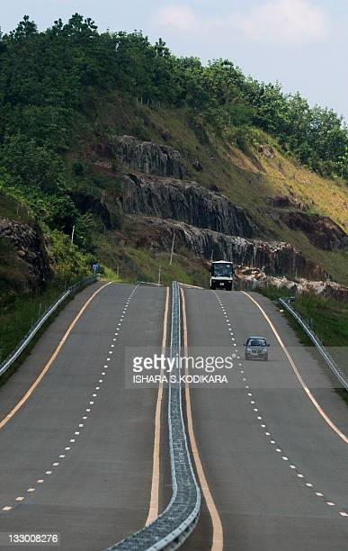 A general view of the Southern Highway Express lane in Pinnaduwa on on November 16 2011 Sri Lanka is set to open its first expressway built at a...