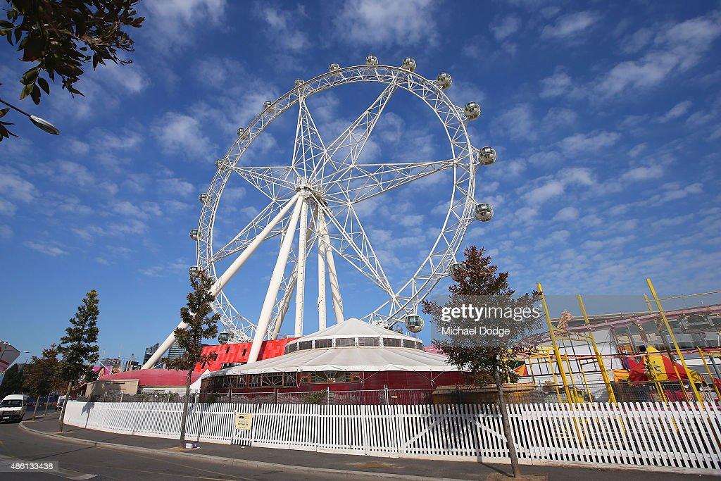 A general view of the Southern Star Ferris Wheel in the Docklands Precinct is seen on August 24, 2015 in Melbourne, Australia.