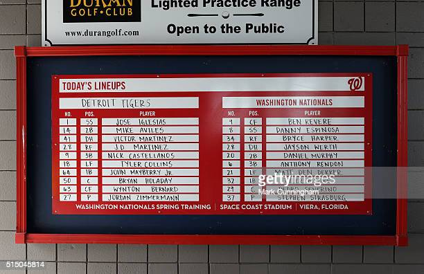 A general view of the Space Coast Stadium lineup board prior to the Spring Training game between the Detroit Tigers and the Washington Nationals at...