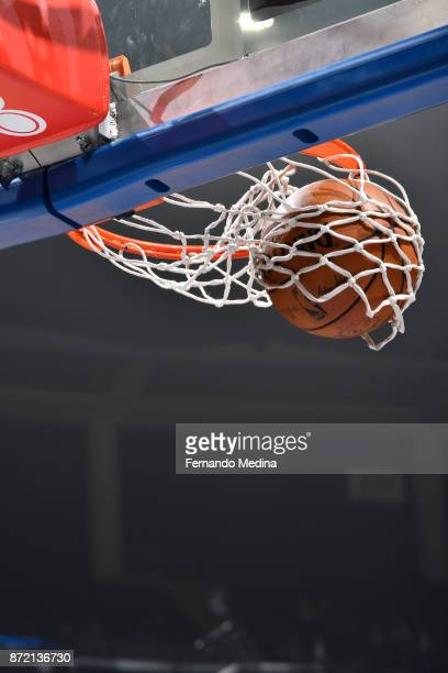 A general view of the Spalding @NBA basketball going through the basket prior to the game of the New York Knicks against the Orlando Magic on...