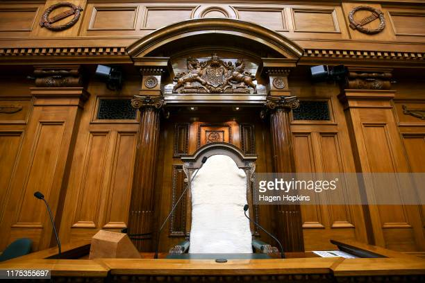 General view of the Speaker's chair in the debating chamber at Parliament House, Parliament, on September 18, 2019 in Wellington, New Zealand.