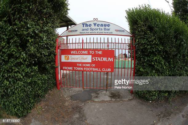 General view of the Special Effect Stadium prior to the Pre-Season Friendly between Frome Town and Northampton Town at the Special Effect Stadium on...
