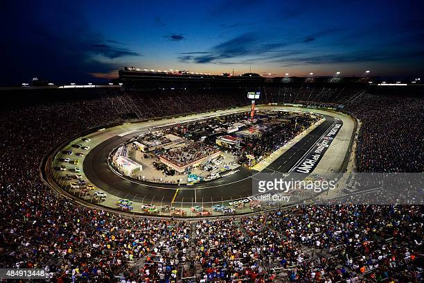 A general view of the speedway as cars race during the NASCAR Sprint Cup Series IRWIN Tools Night Race at Bristol Motor Speedway on August 22 2015 in...
