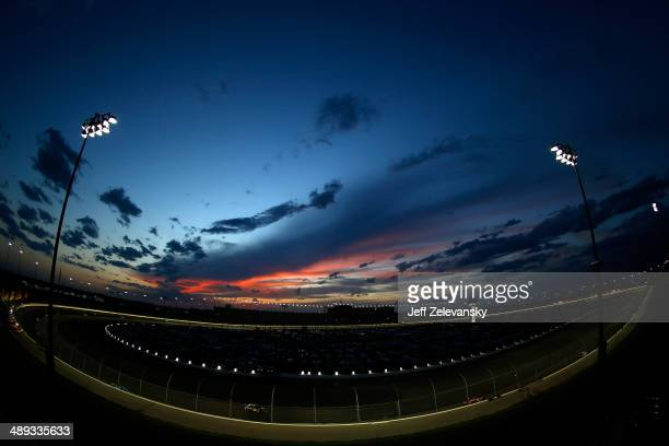 General view of the speedway at sunset during the NASCAR Sprint Cup Series 5-Hour Energy 400 at Kansas Speedway on May 10, 2014 in Kansas City,...
