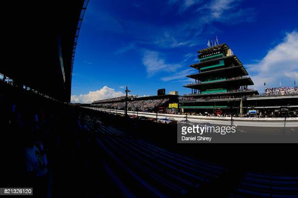 A general view of the speedway during the Monster Energy NASCAR Cup Series Brickyard 400 at Indianapolis Motorspeedway on July 23 2017 in...