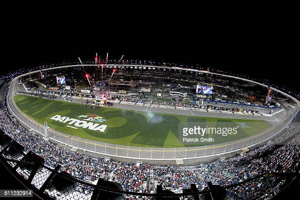 A general view of the speedway during the NASCAR Sprint Cup Series CanAm Duels at Daytona International Speedway on February 18 2016 in Daytona Beach...